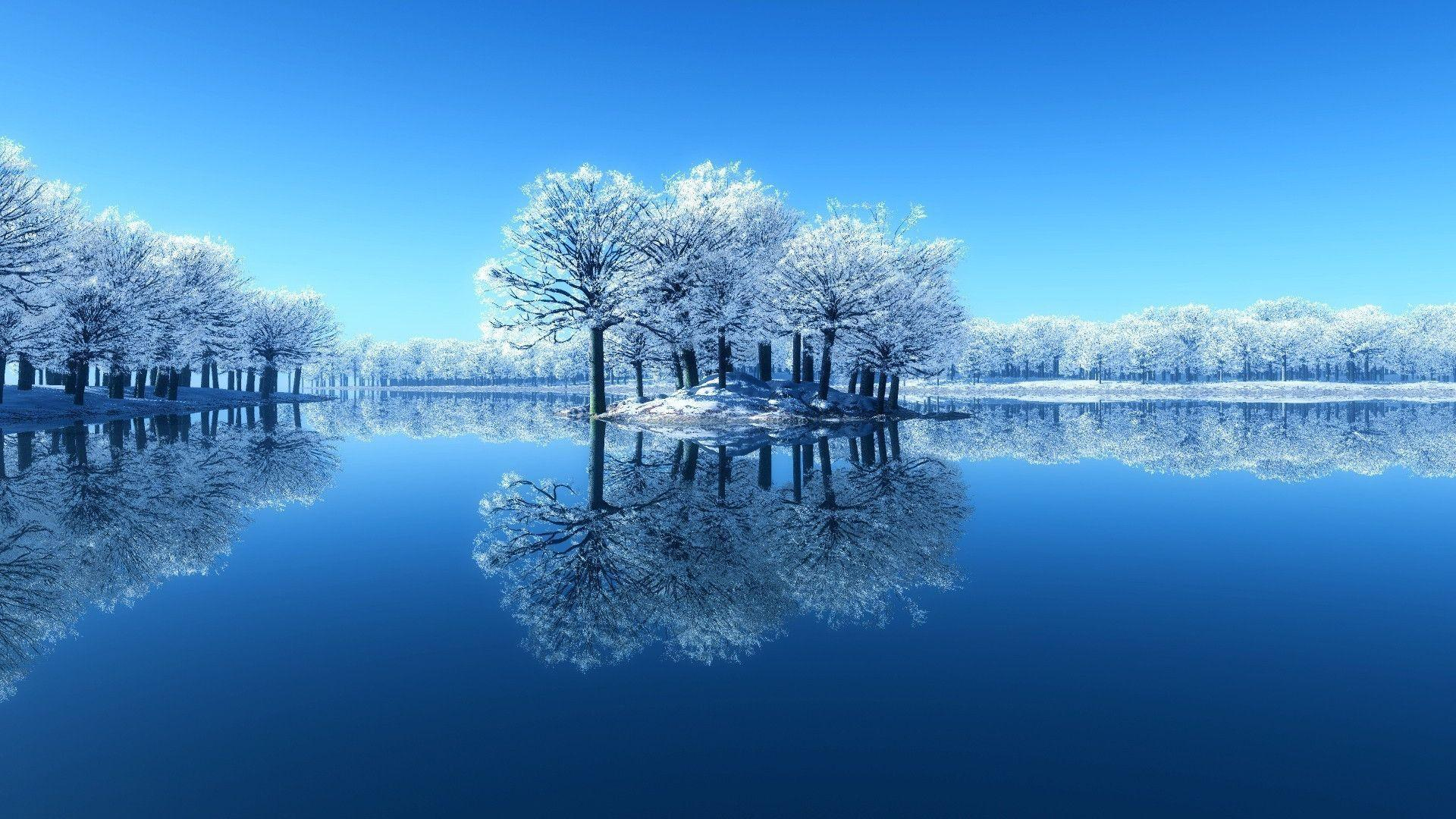 1920x1080 Blue winter lake Wallpaper
