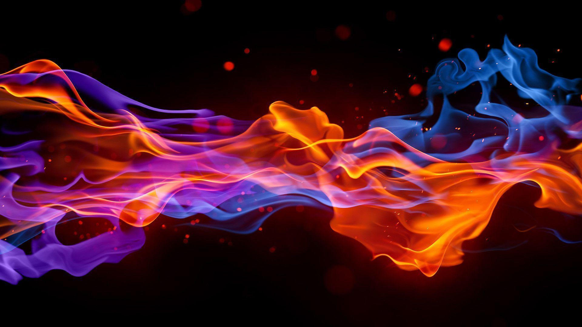 Red And Blue Fire Wallpaper