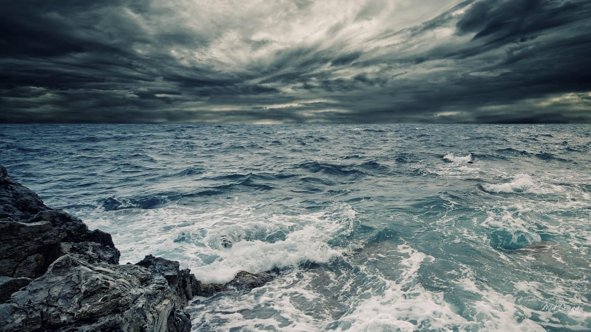Download <b>Wallpaper 1920x1080 Sea</b>, Waves, Painting, Art, <b>Storm</b> ...
