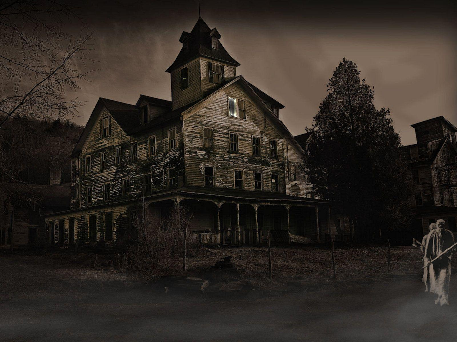Haunted house desktop wallpapers wallpaper cave for Wallpaper with houses on