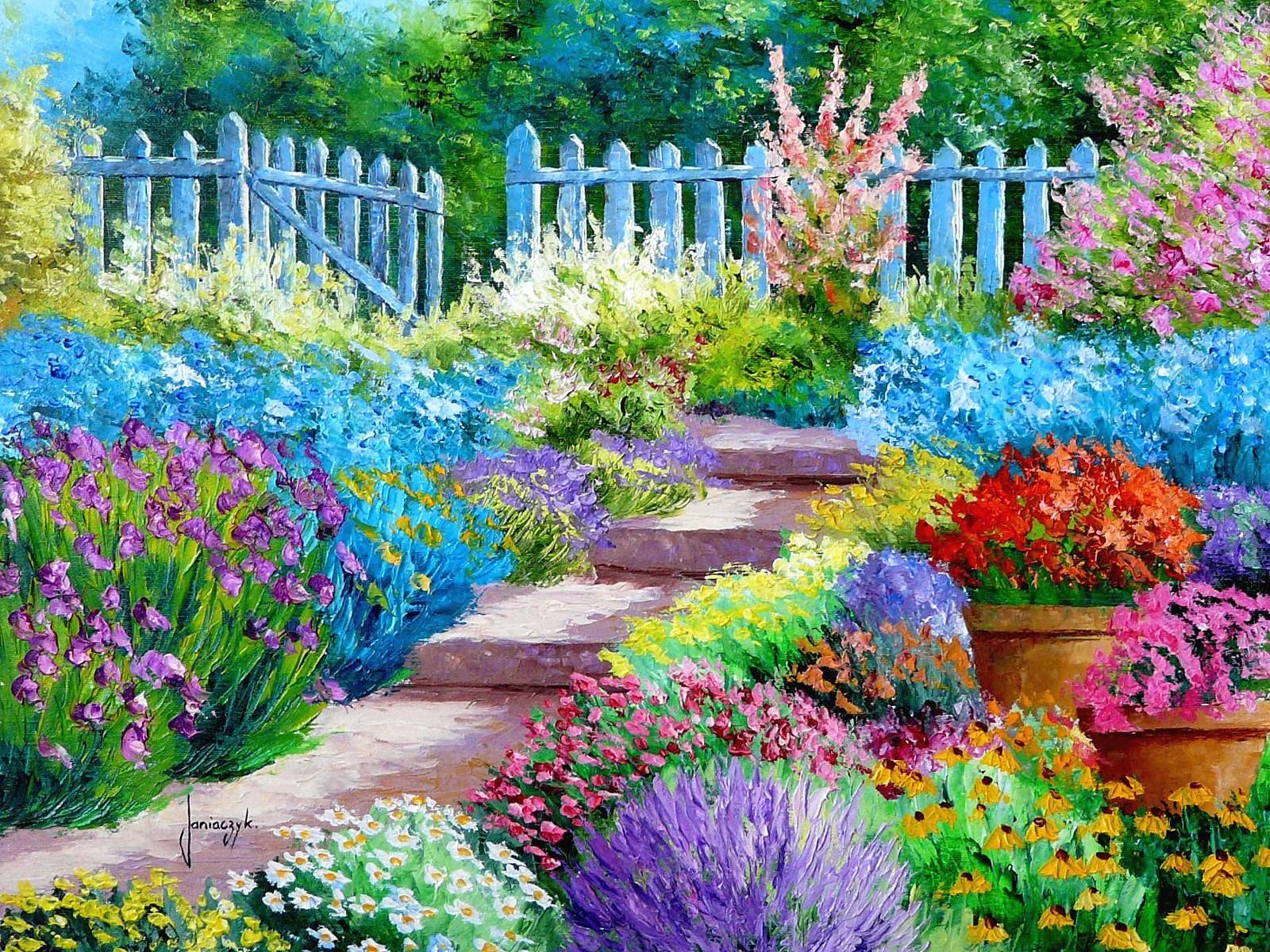 Hd wallpaper garden - Flower Garden Painting Art Wallpaper 1600x1200 176827