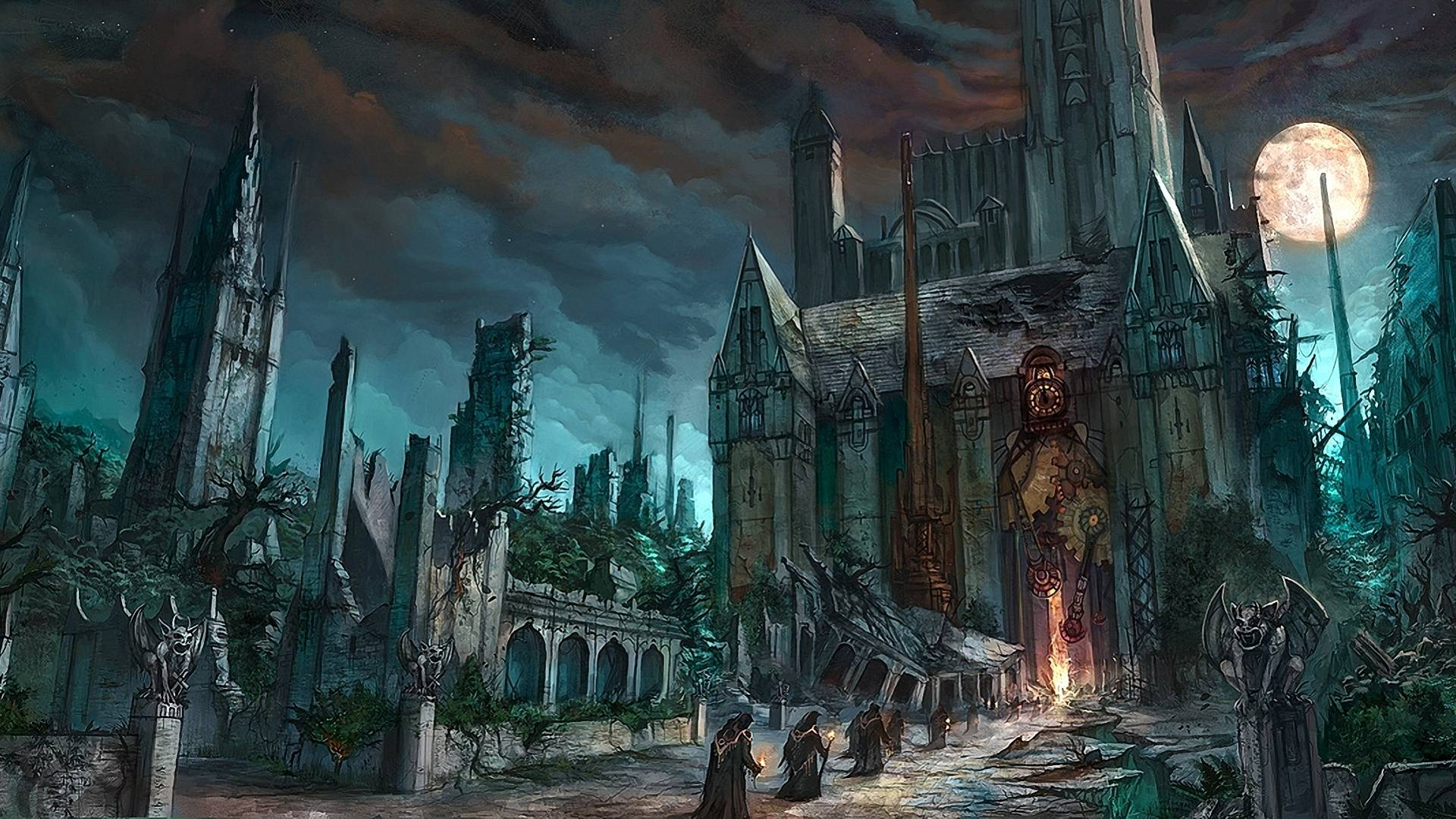Dark Fantasy Horror Gothic Art Monk Cathedral Church Wallpaper