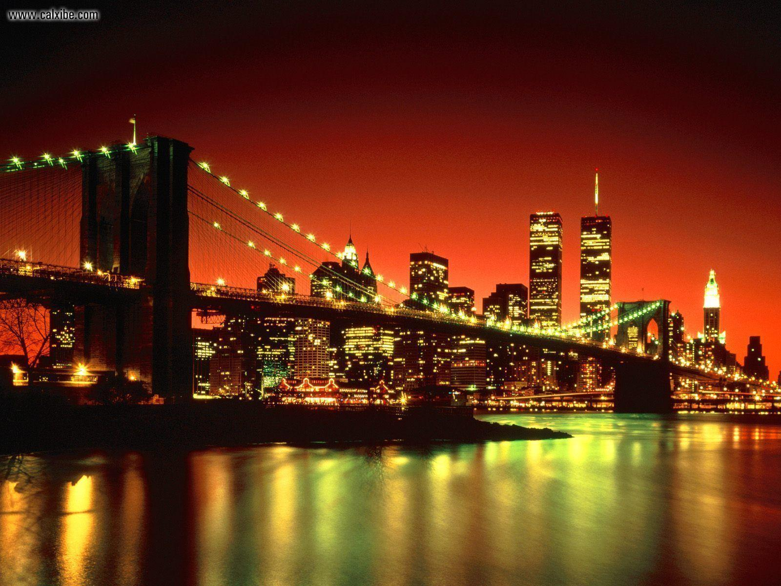 Pix For > Brooklyn Bridge At Night Wallpapers