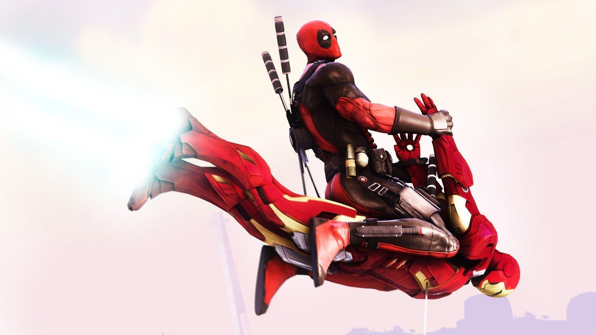 Deadpool flying on Iron Man Wallpapers #