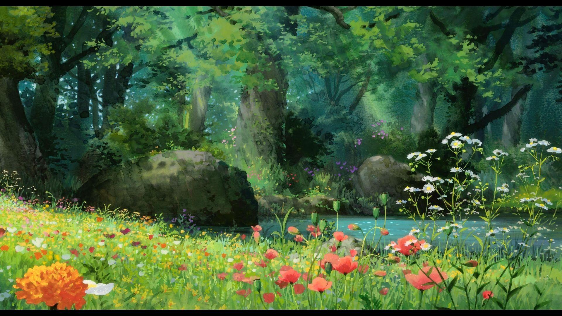 Anime Forest HD Wallpaper 1920x1080
