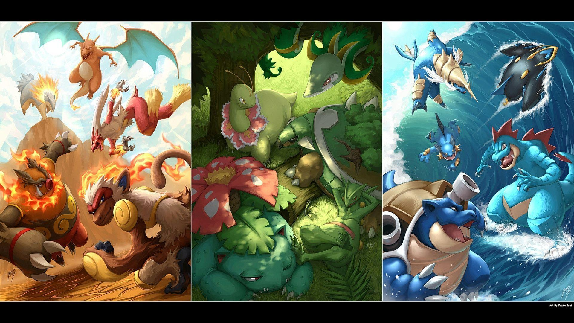 Download Pokemon Starters Wallpaper 1920x1080 | Full HD Wallpapers