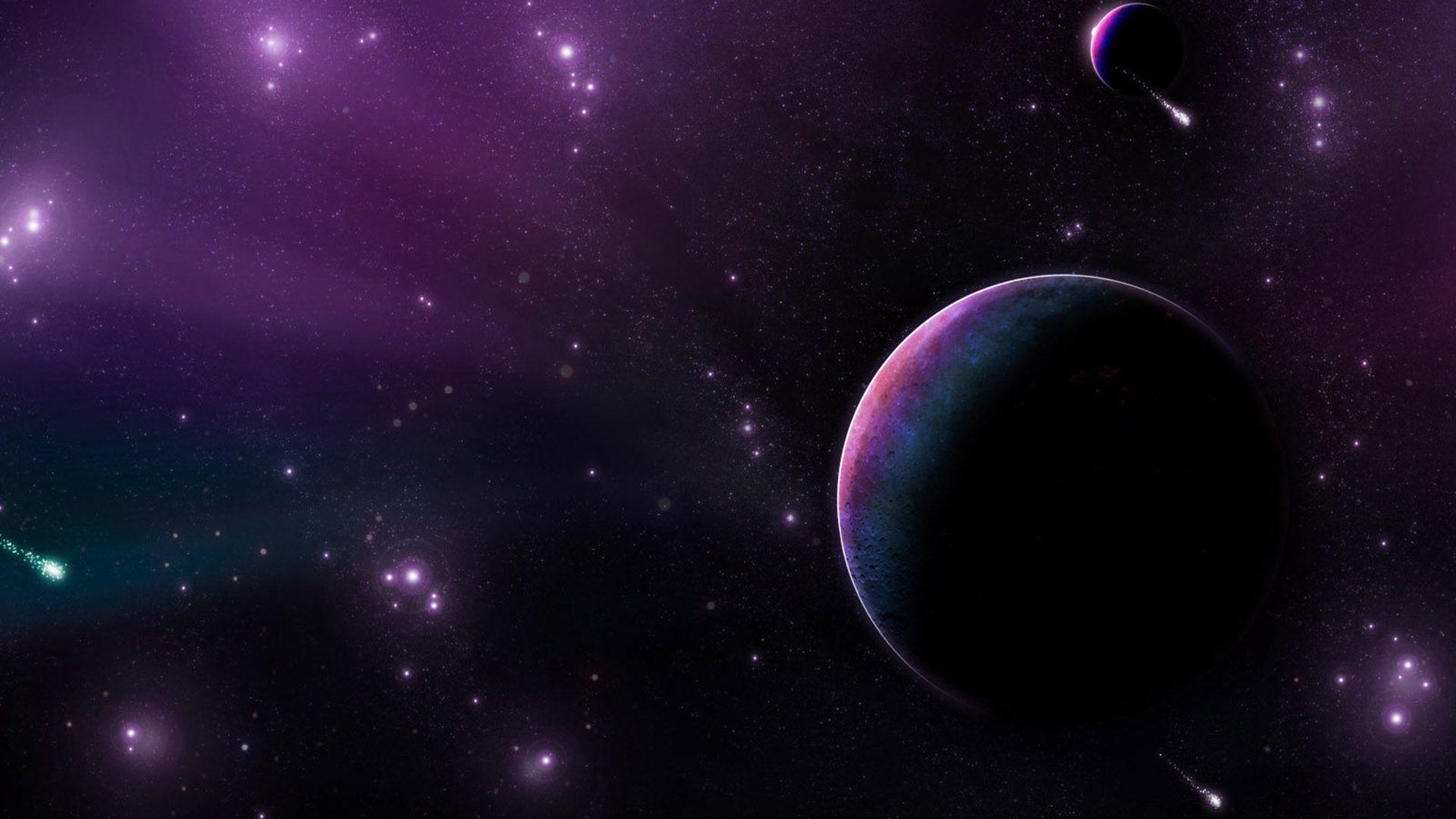 Purple Space Planets Stars Hd Screen Backgrounds