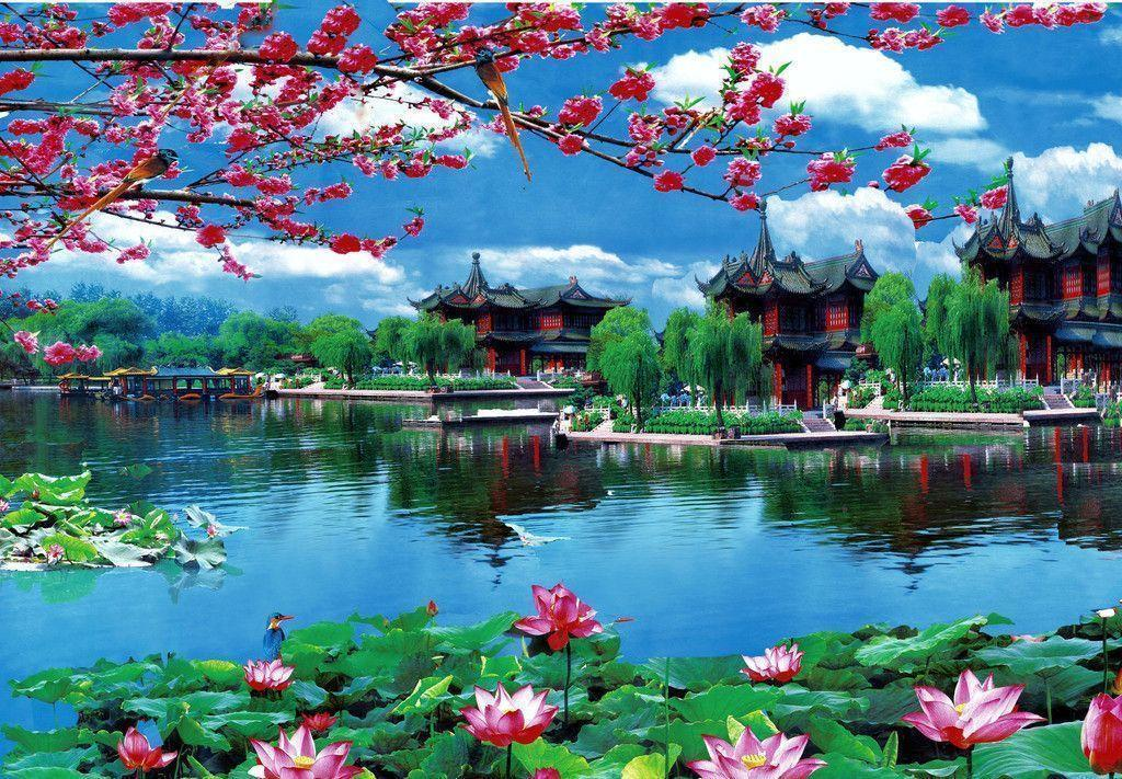 Japan wallpapers lake and homes classic townfull hd landscapehigh