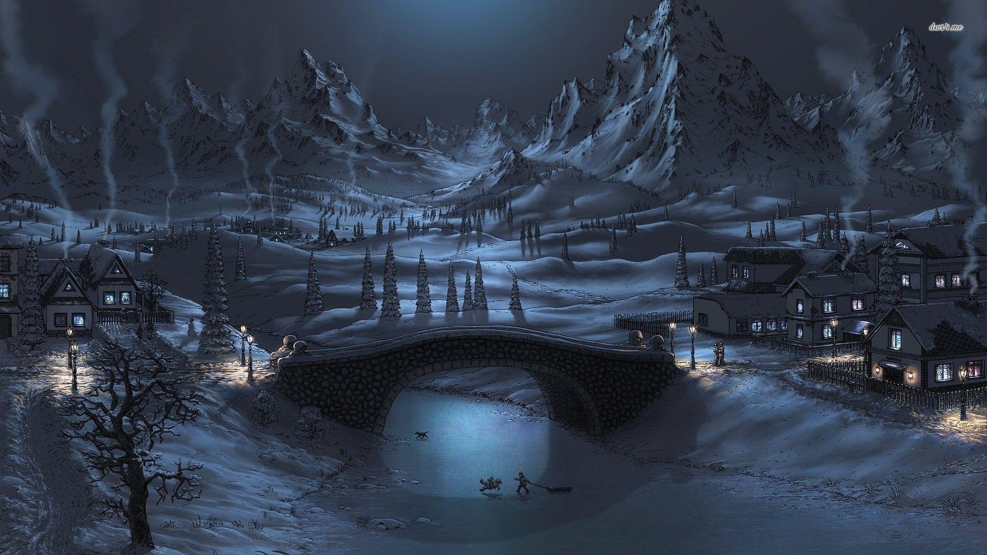 Winter Night Wallpapers Wallpaper Cave