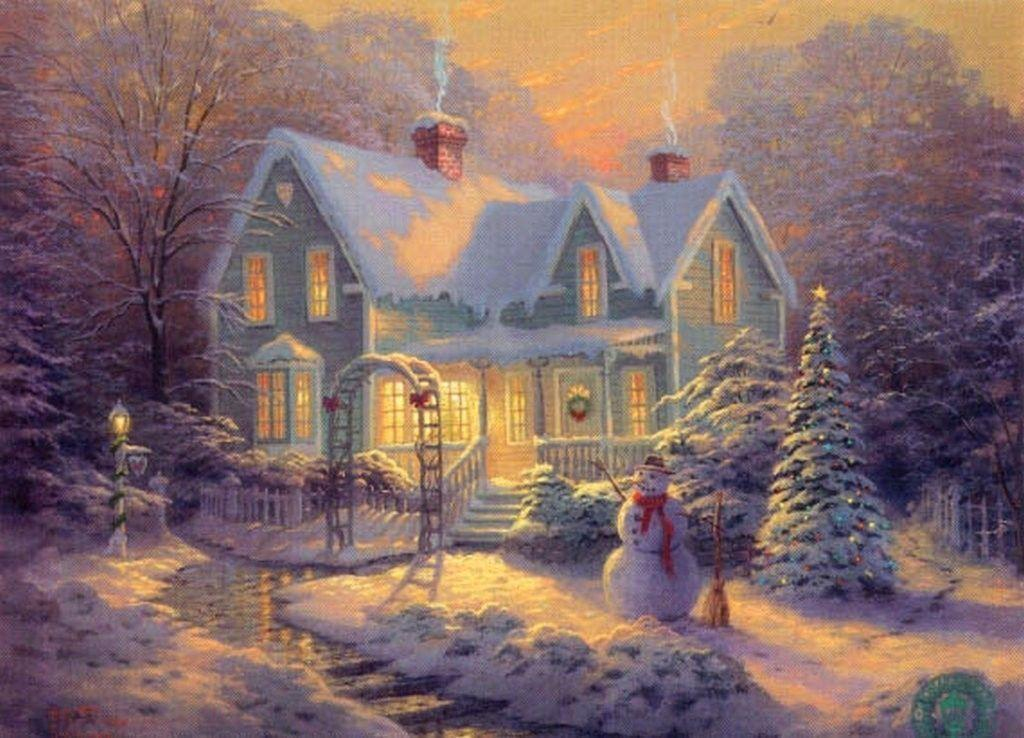 Thomas kinkade winter wallpapers wallpaper cave for Gatti sfondi desktop gratis