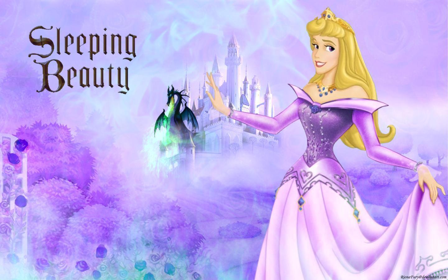 Sleeping Beauty Aurora in Purple Desktop Wallpapers Free