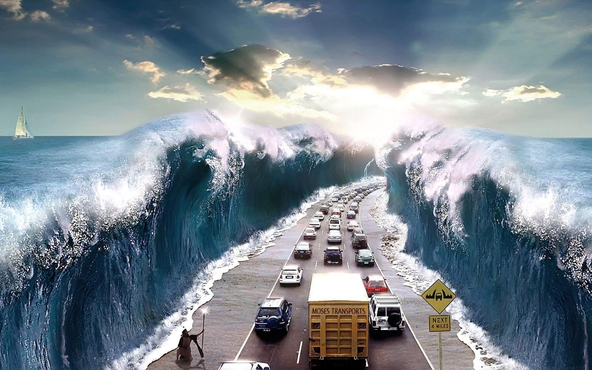Tsunami Hitting the Highway Wallpapers and Stock Photo