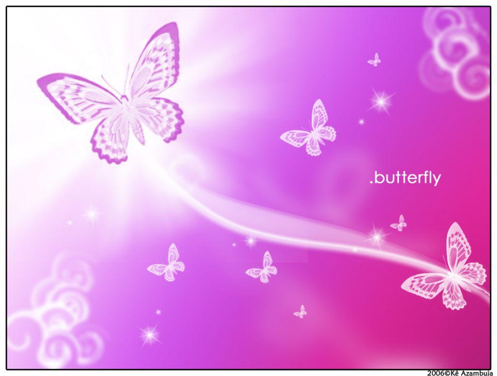 Pink And Purple Background With Butterflies