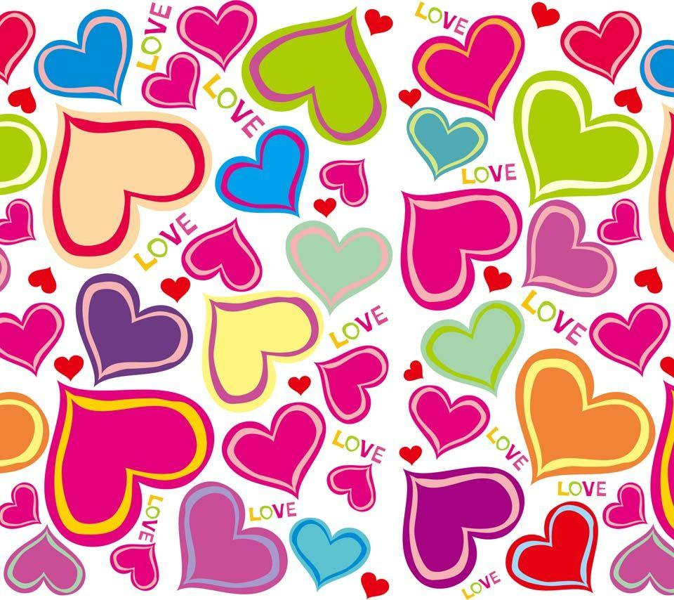 Love Shape Design Wallpaper : colorful Hearts Wallpapers - Wallpaper cave