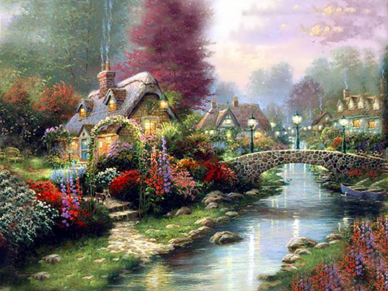Free Thomas Kinkade Wallpaper | Drawing and Coloring for Kids · Download