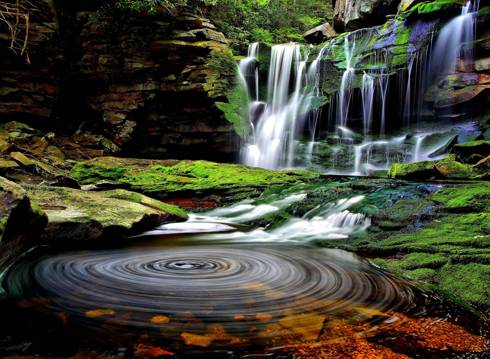Beautiful Waterfall View Stones Color State Hd Wallpaper
