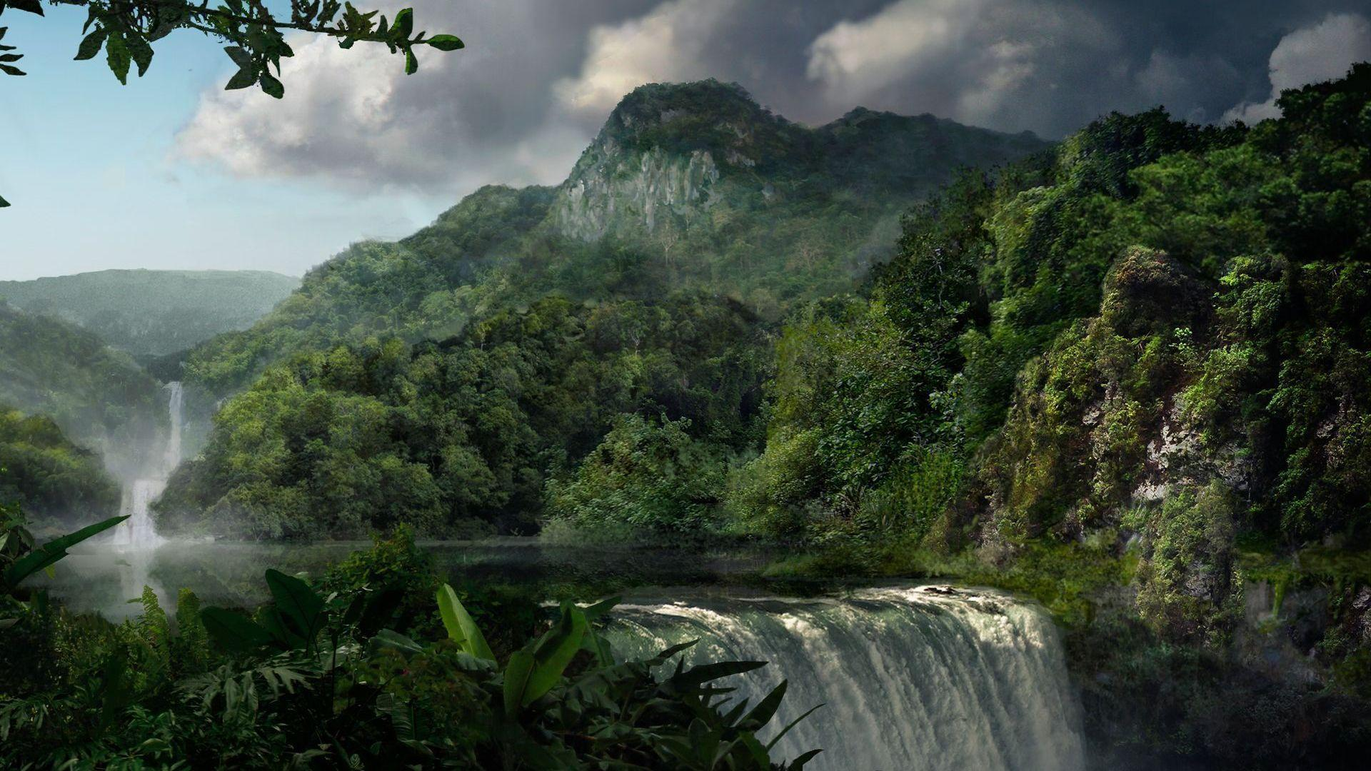 Jungle waterfall Wallpapers #