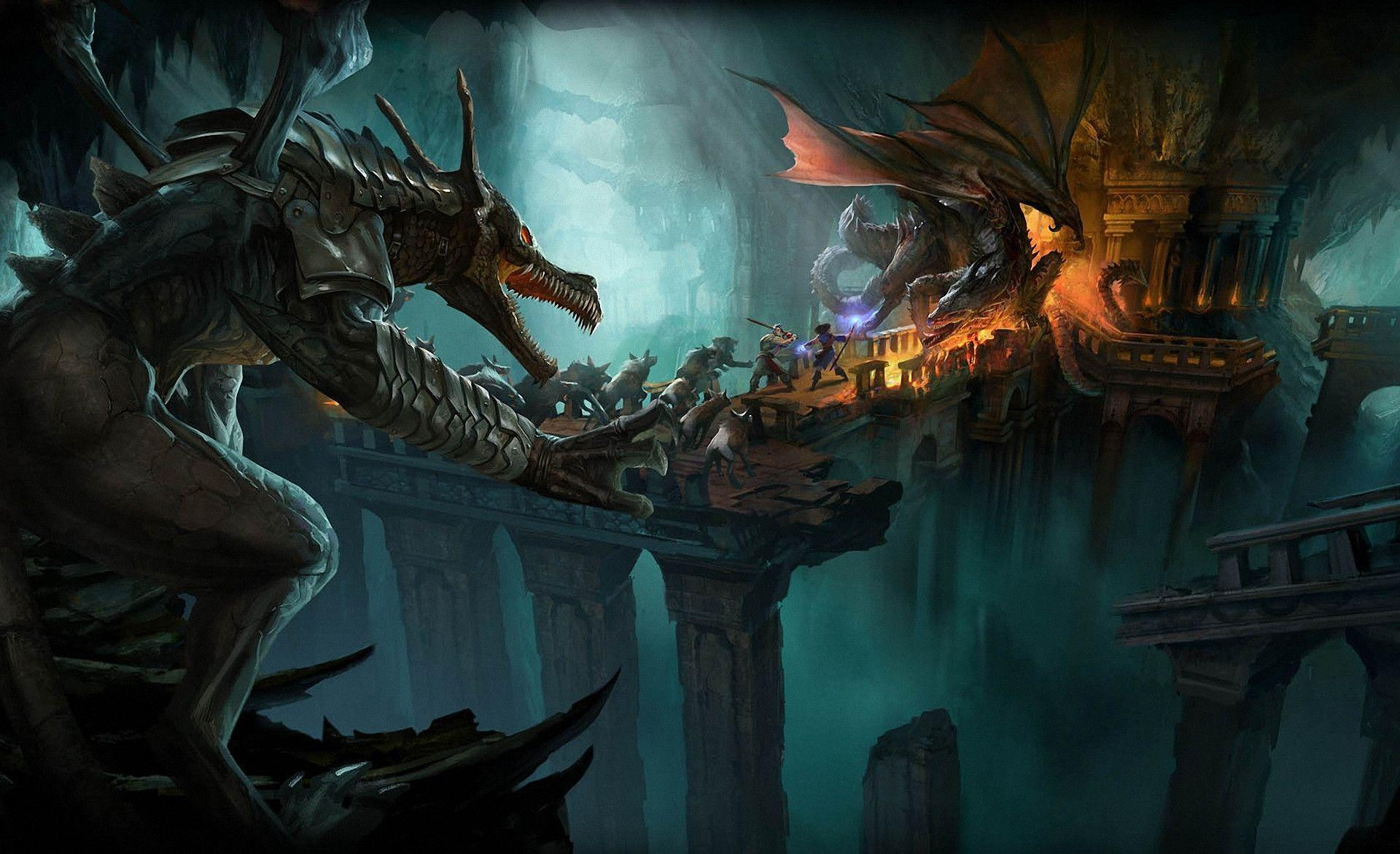 Download wallpapers battle, travelers, Dungeon, Dragons free