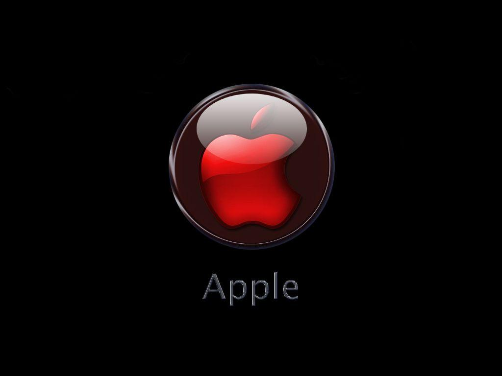 1024x768 Red Apple logo desktop PC and Mac wallpapers