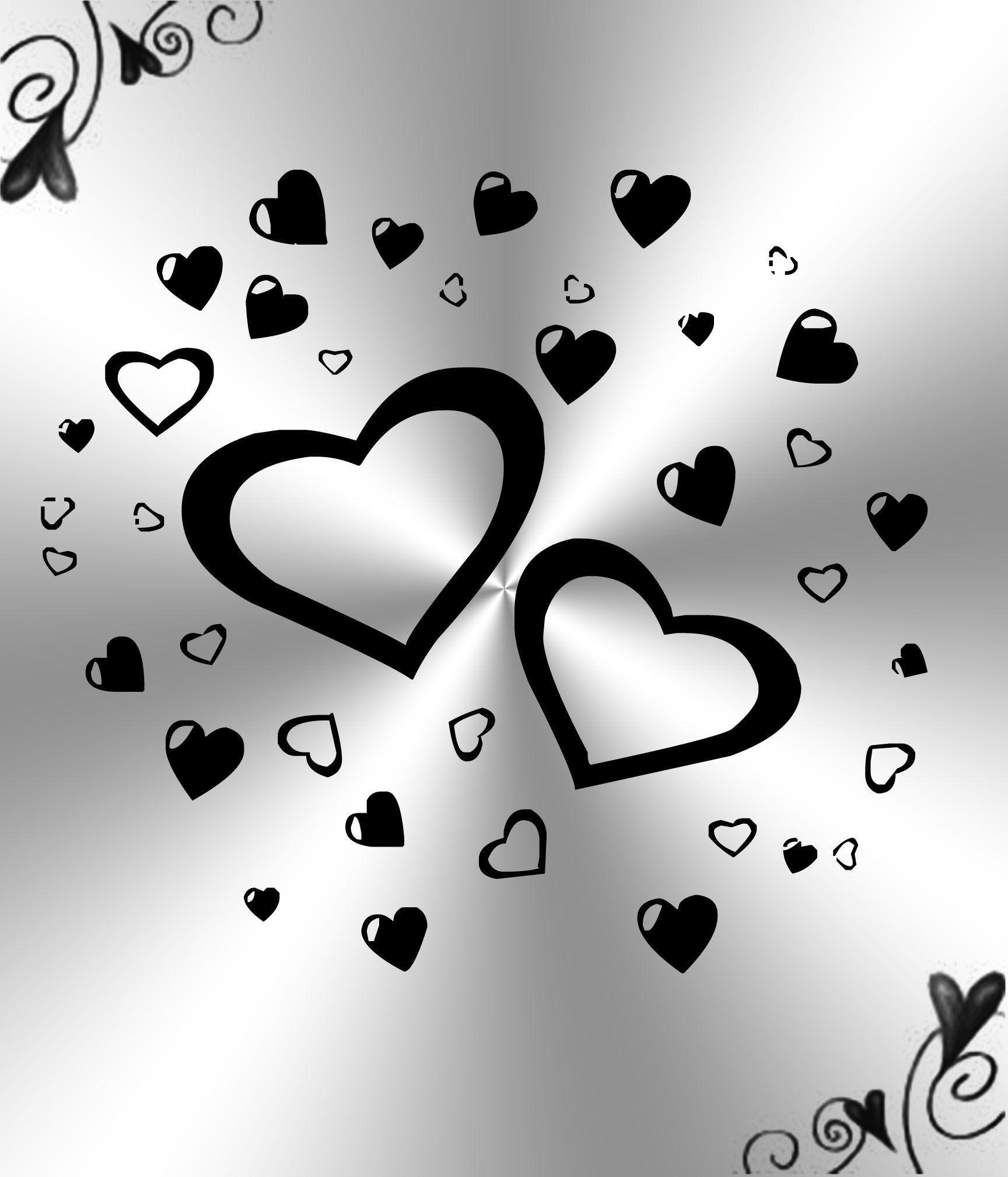 White And Black Hearts Backgrounds by Princessdawn755