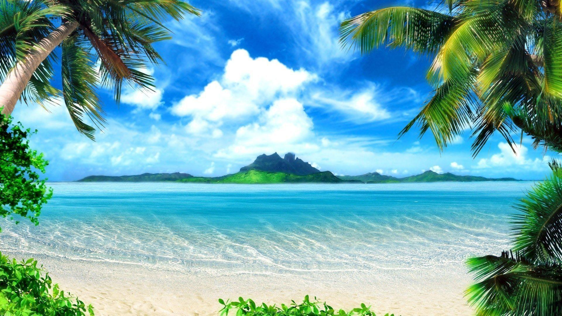 Paradise Beach Summer Desktop Background Wallpaper