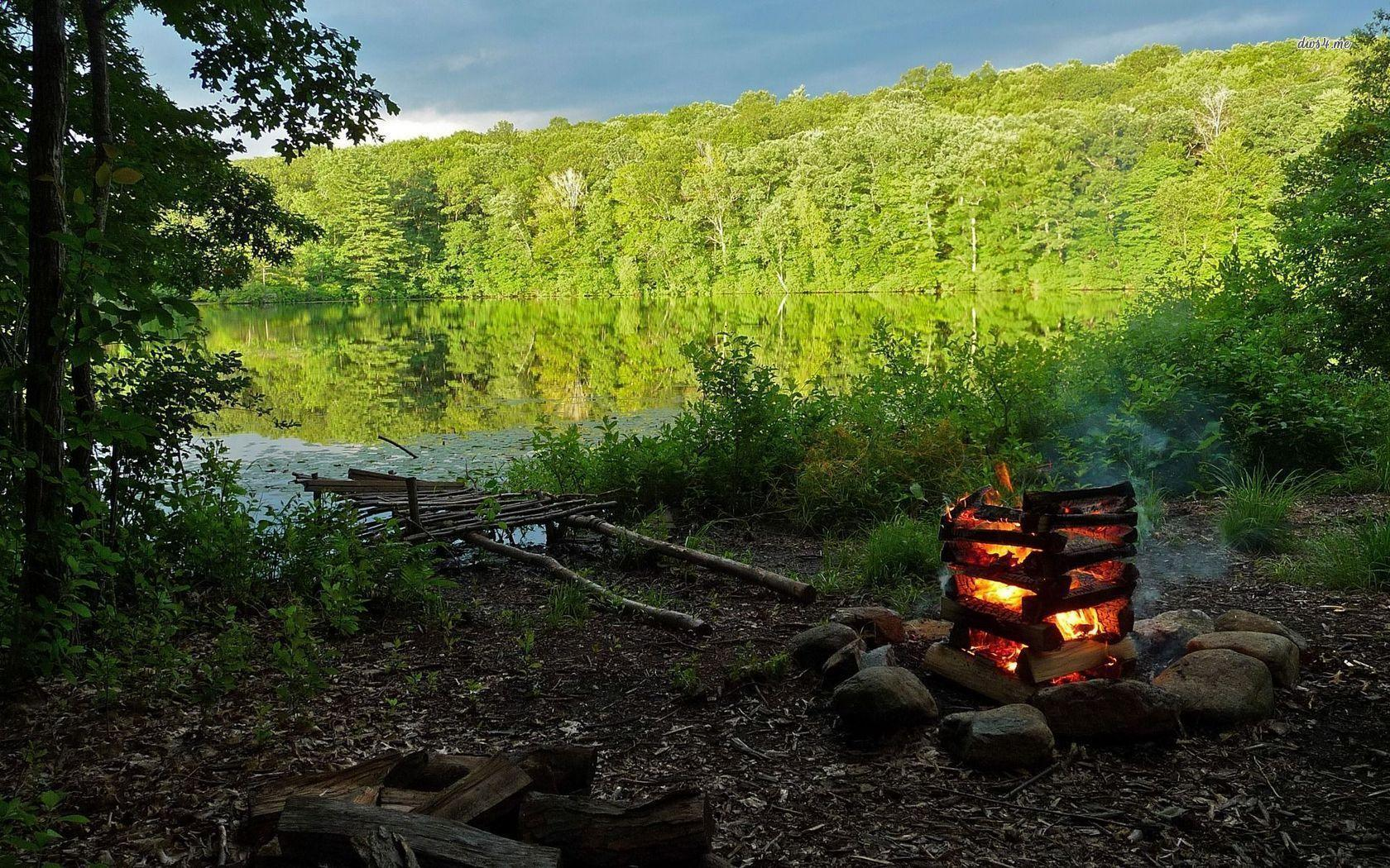 Campfire Wallpapers - Wallpaper Cave Camping Forest Wallpaper