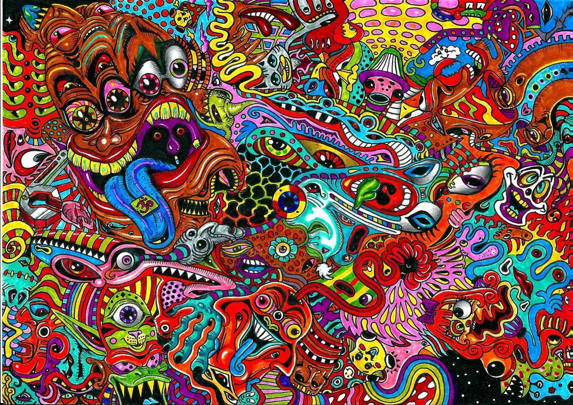 Psychedelic art color detail dark monsters wallpaper | 2339x1656 ...