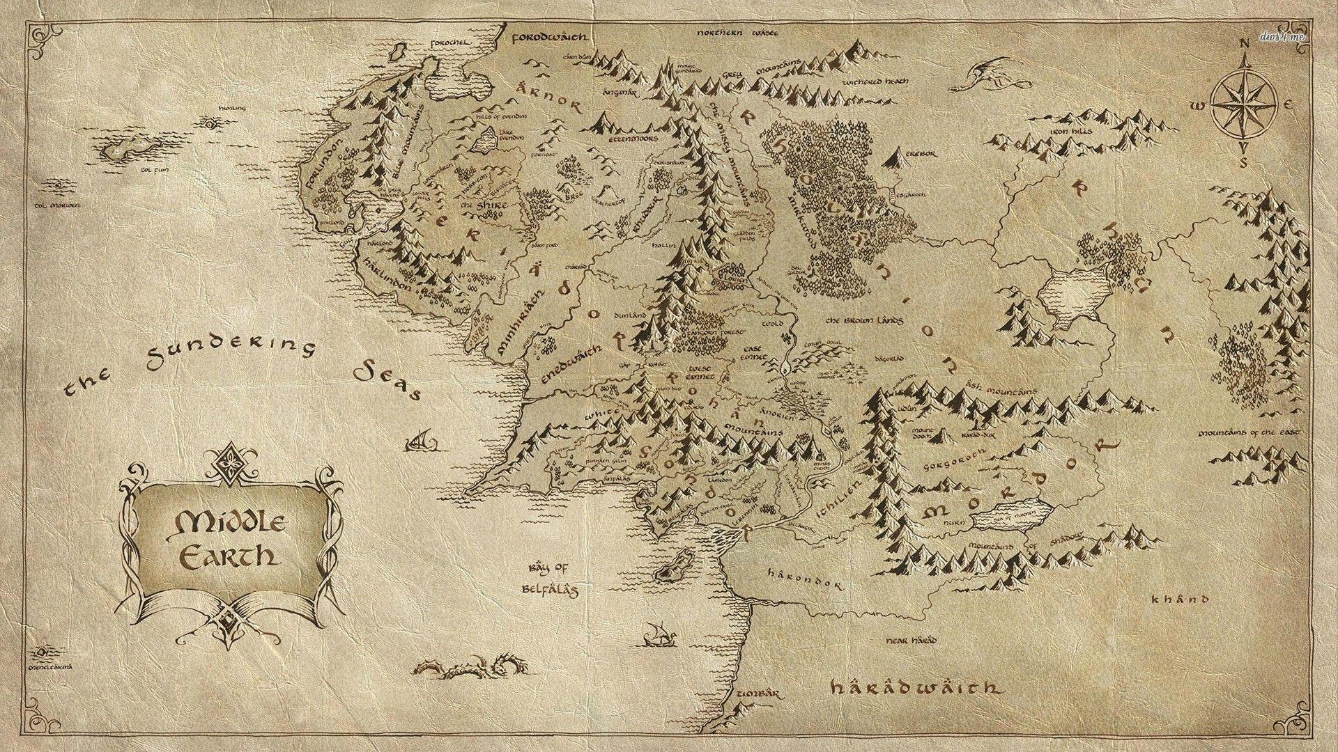 Middle Earth map - The Lord of The Rings wallpaper - Movie ...