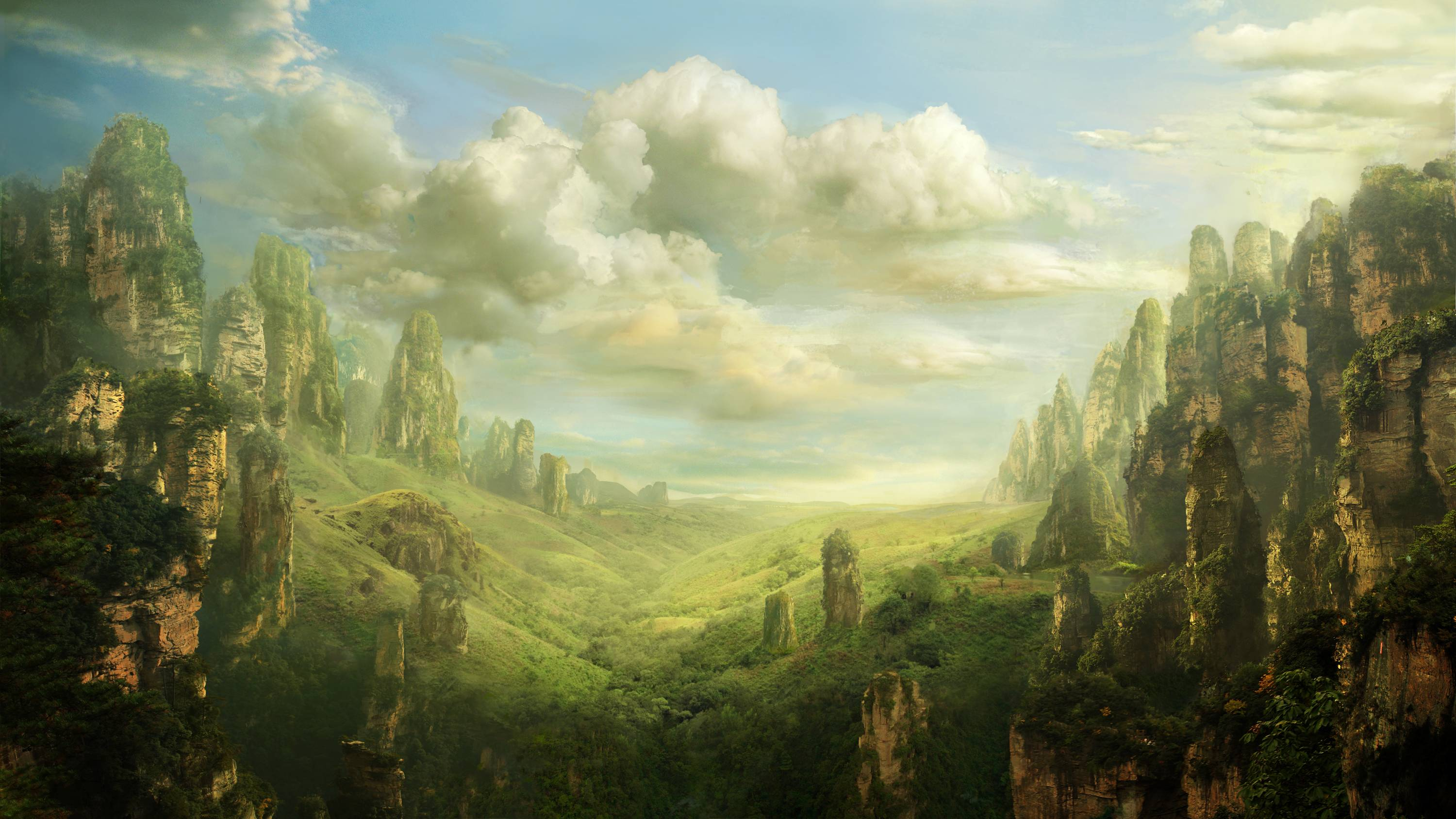 Fantasy landscape wallpapers wallpaper cave - Digital art wallpaper 3840x1080 ...