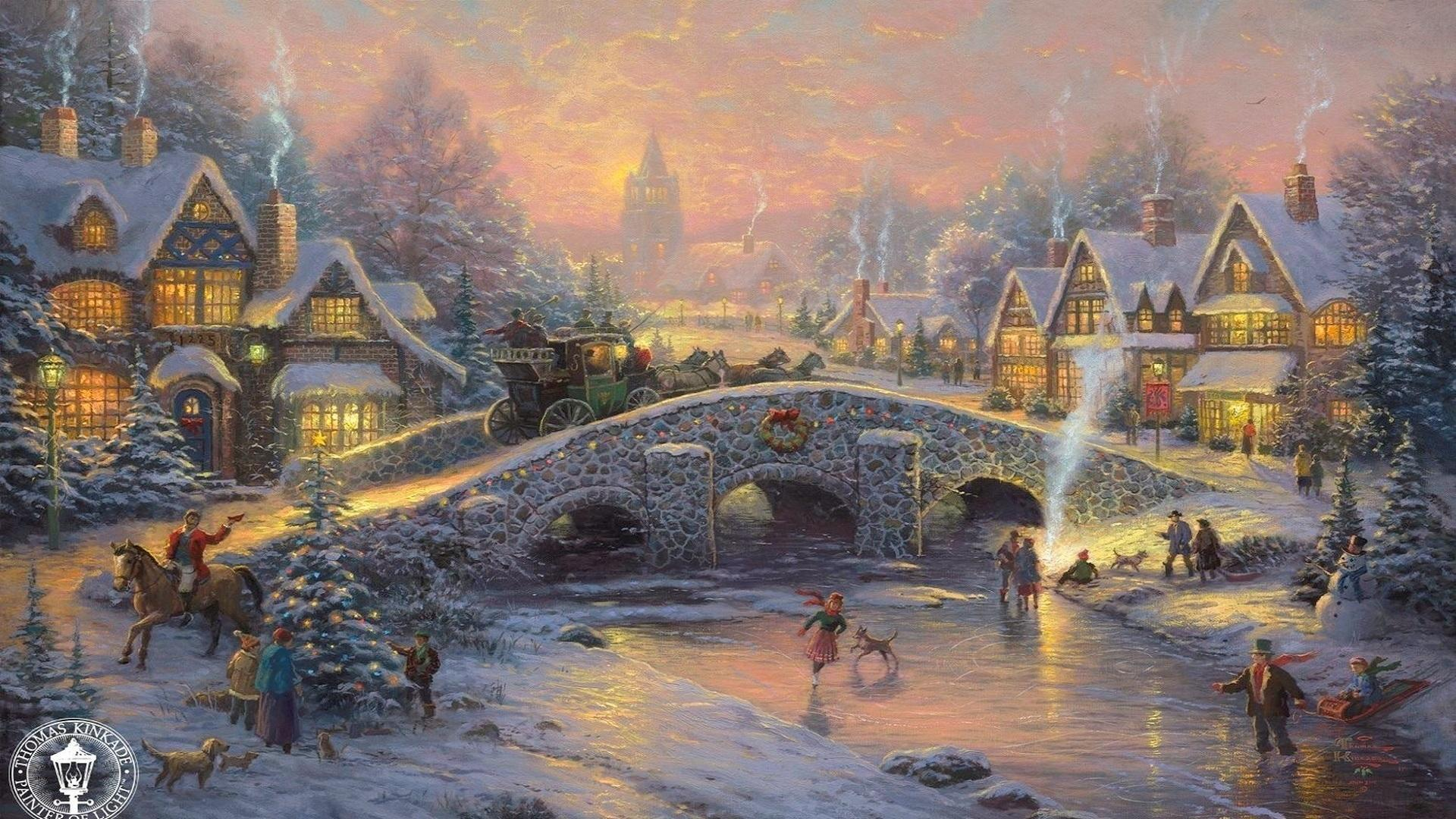 old fashioned christmas town wallpaper - photo #30