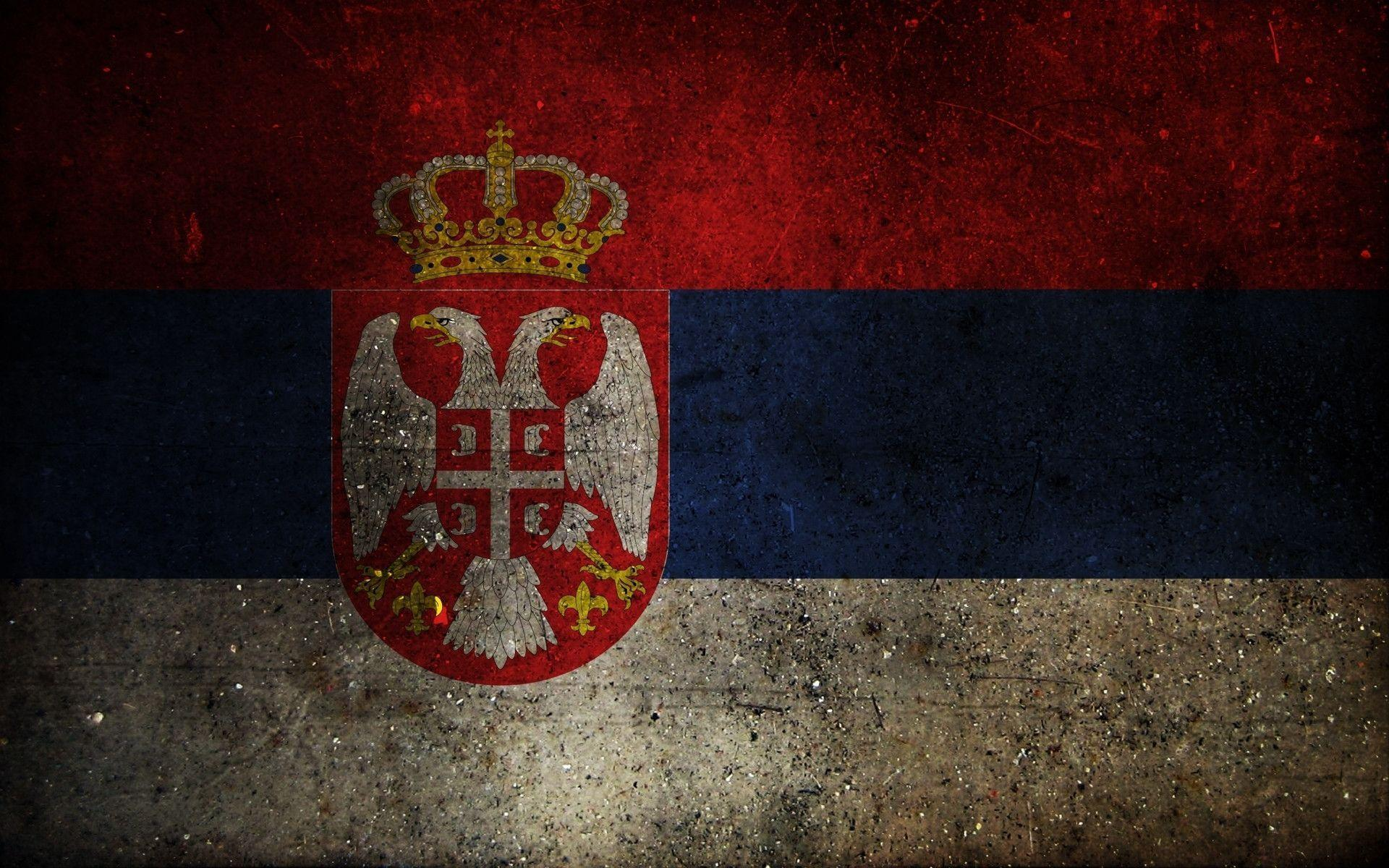 Download wallpapers flag, coat of arms, serbia free desktop