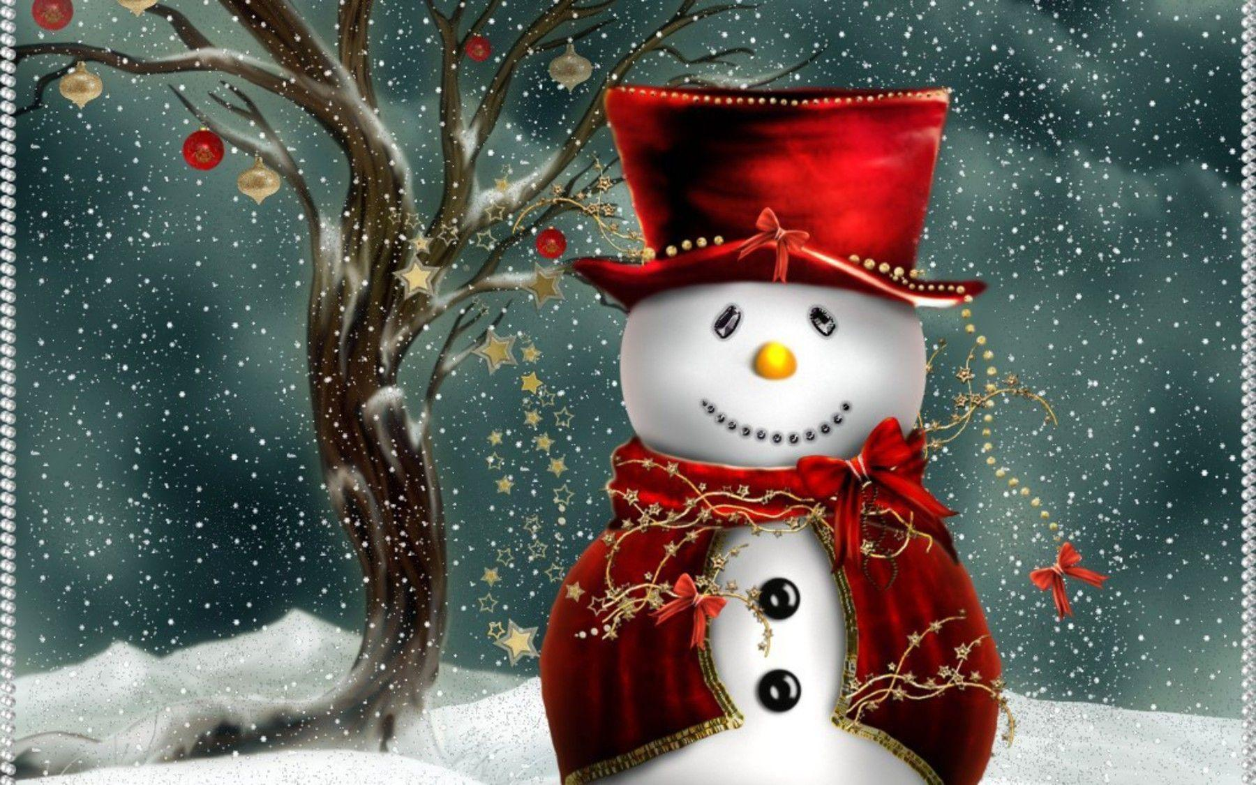 Free Adorable Christmas Snowman wallpapers Wallpapers