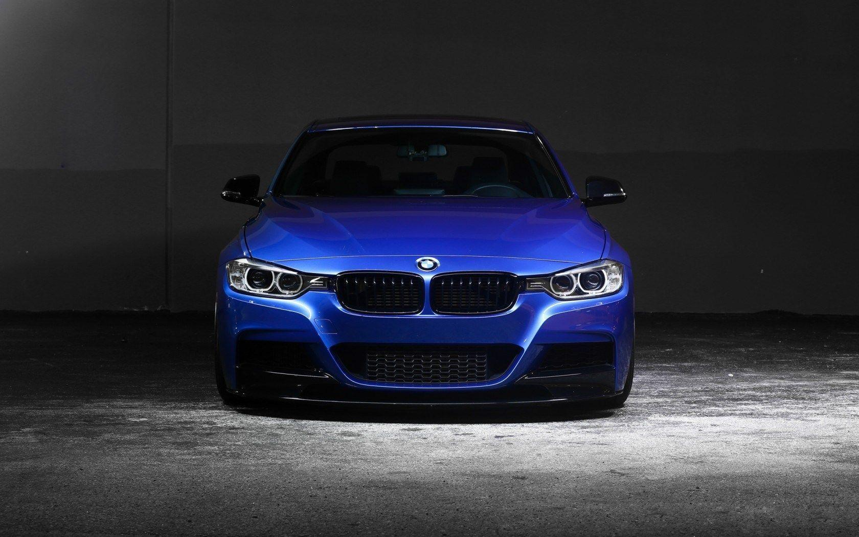 BMW 3 Series 335i F30 Blue Car Front Concrete Wall HD Wallpapers