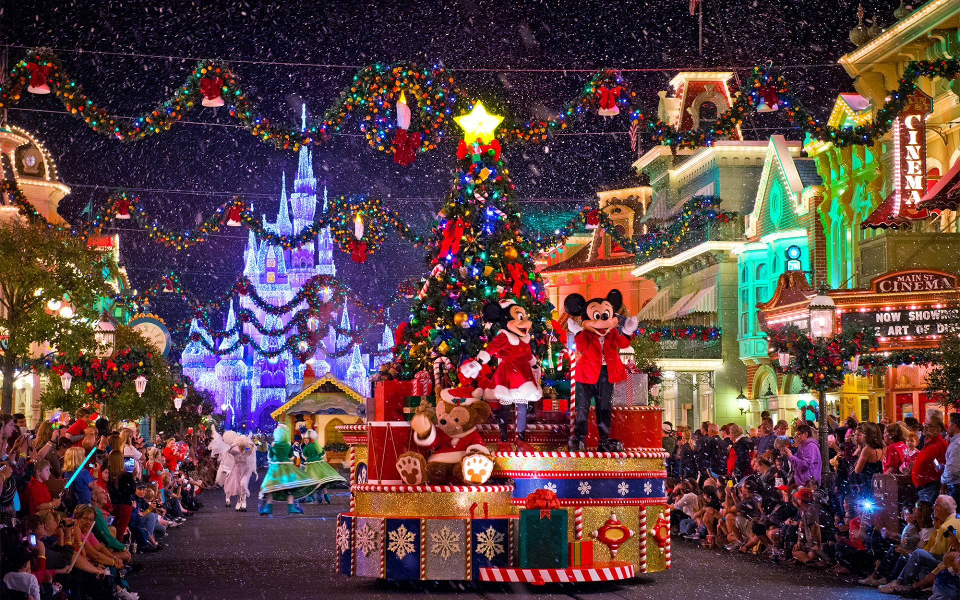 disney christmas parade on main street widescreen wallpaper wide