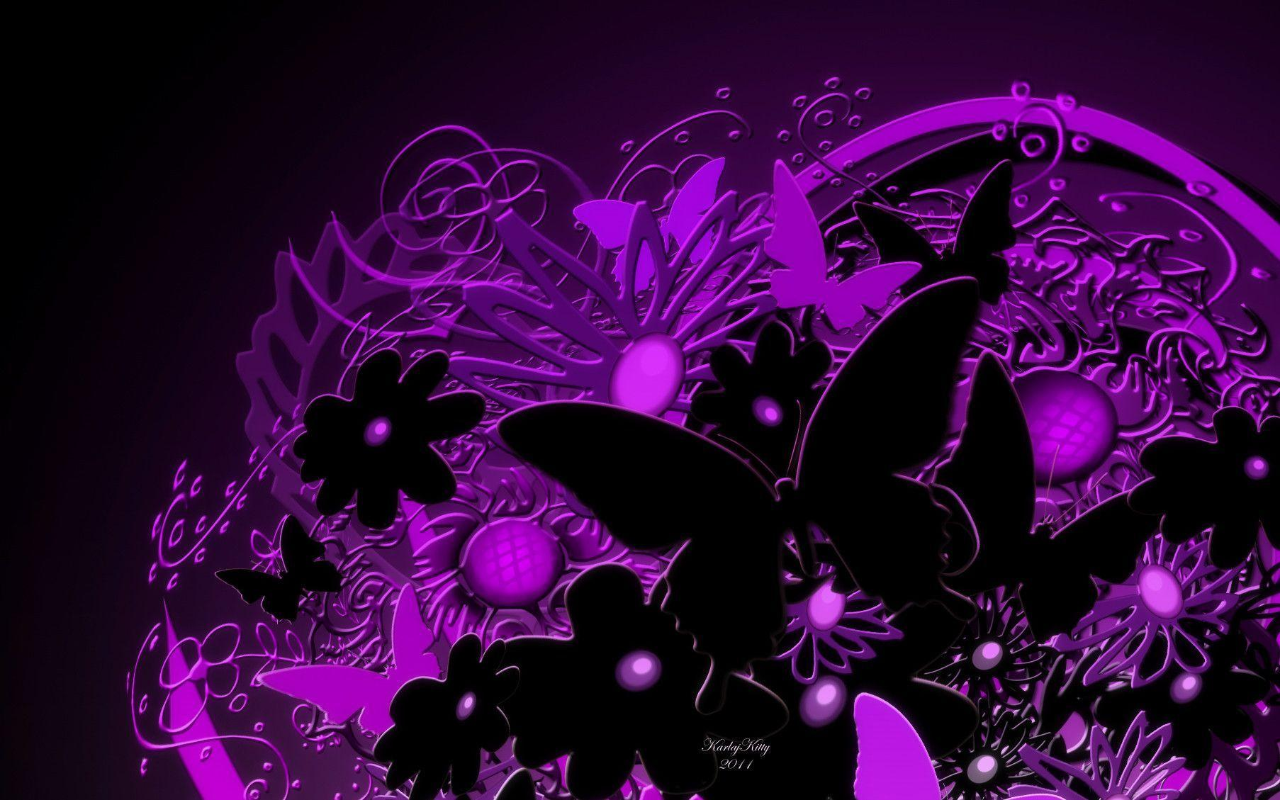 Purple And Black Hearts Wallpaper: Purple Butterfly Wallpapers
