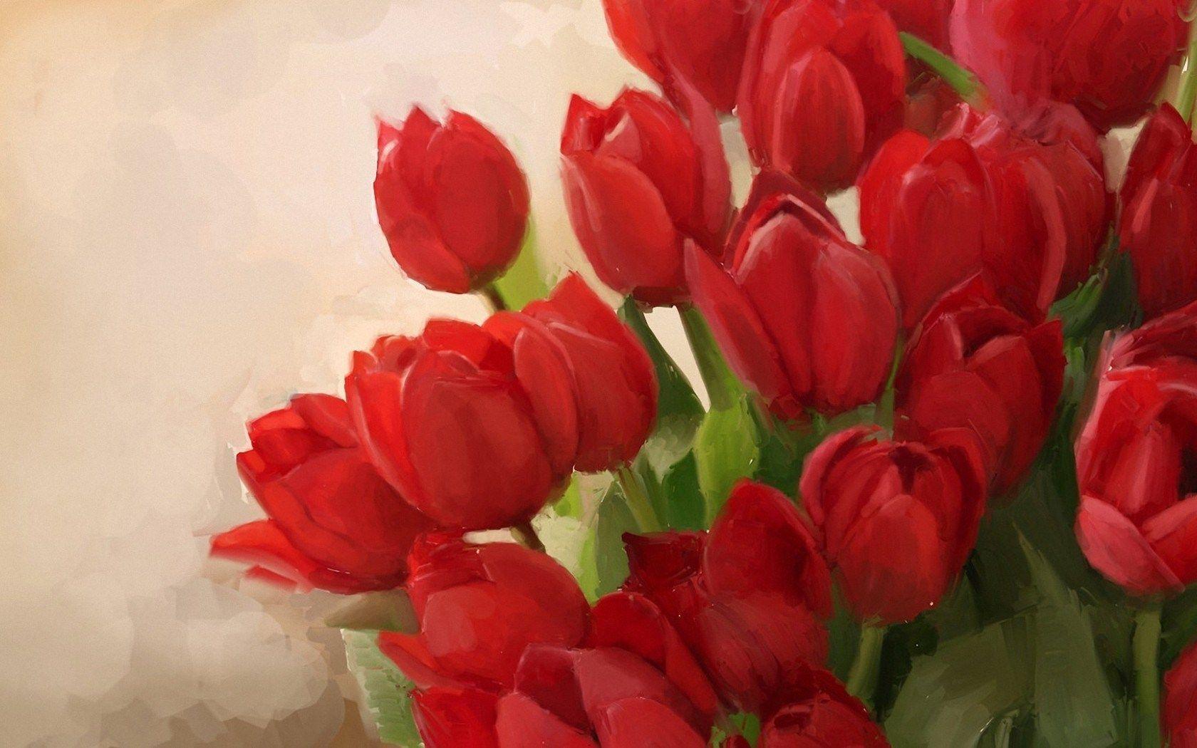Tulips Red Flowers Art Hd Wallpaper Zoomwalls