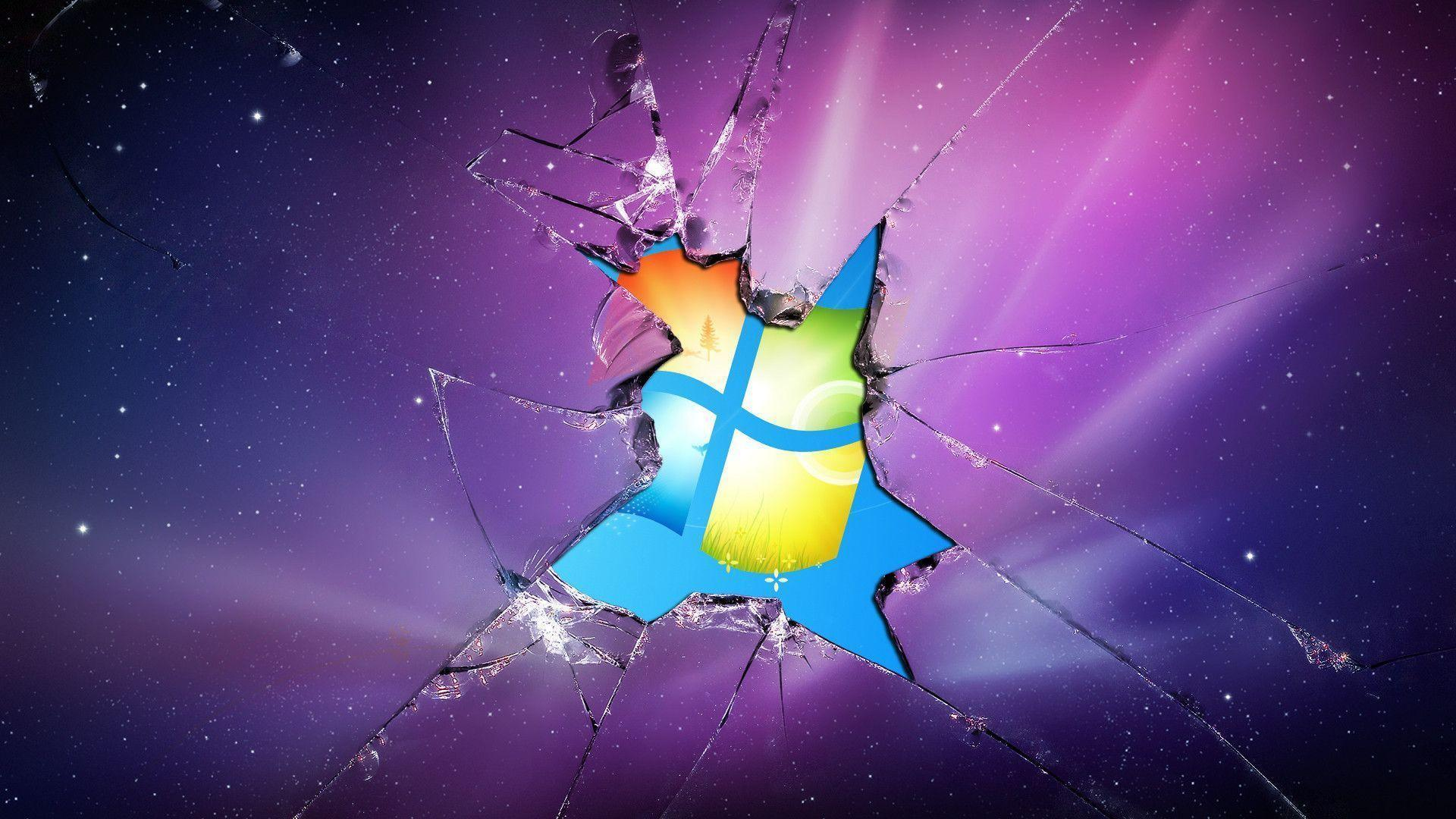 Windows 7 Broken Screen HD Image Wallpapers