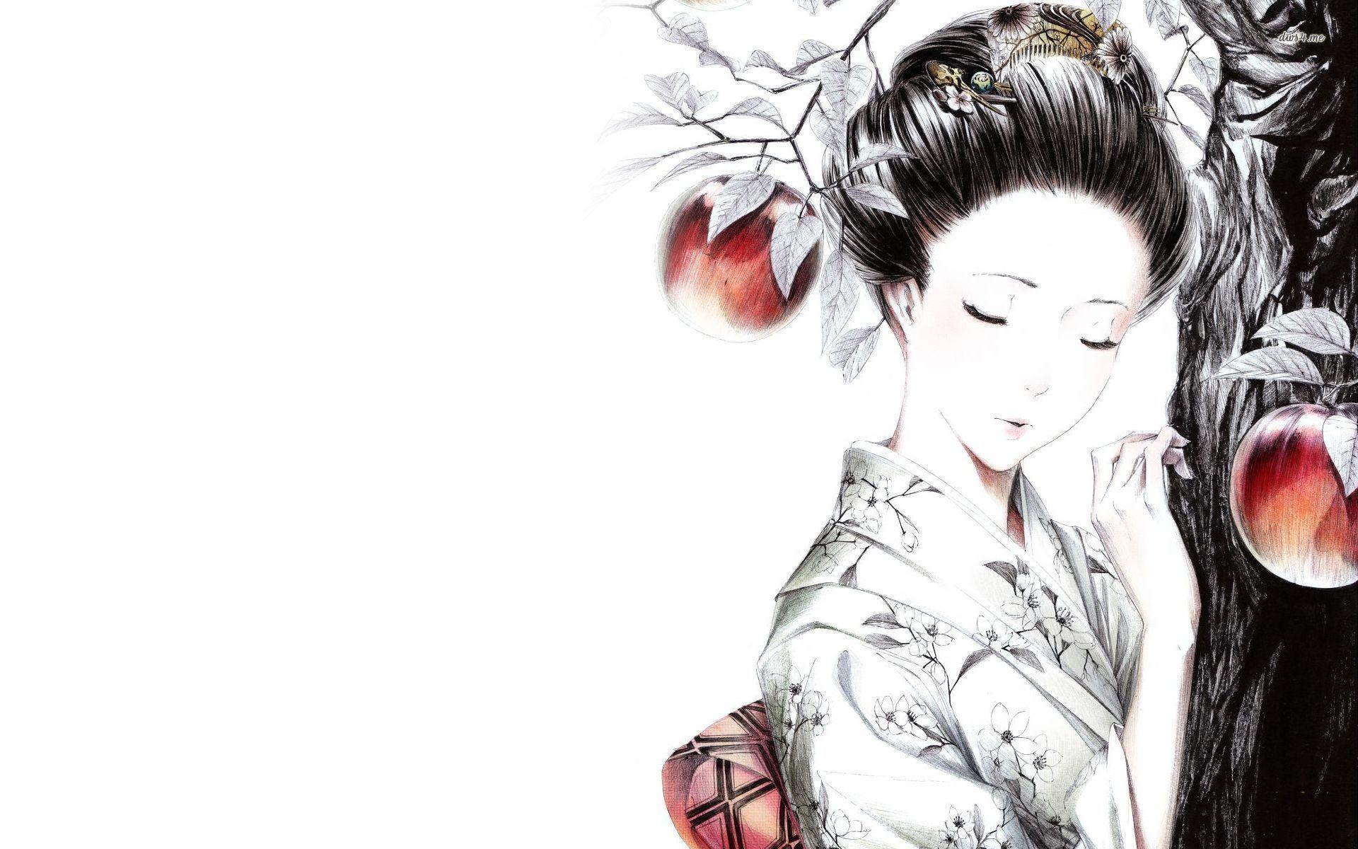wallpaper geisha corals girl - photo #32
