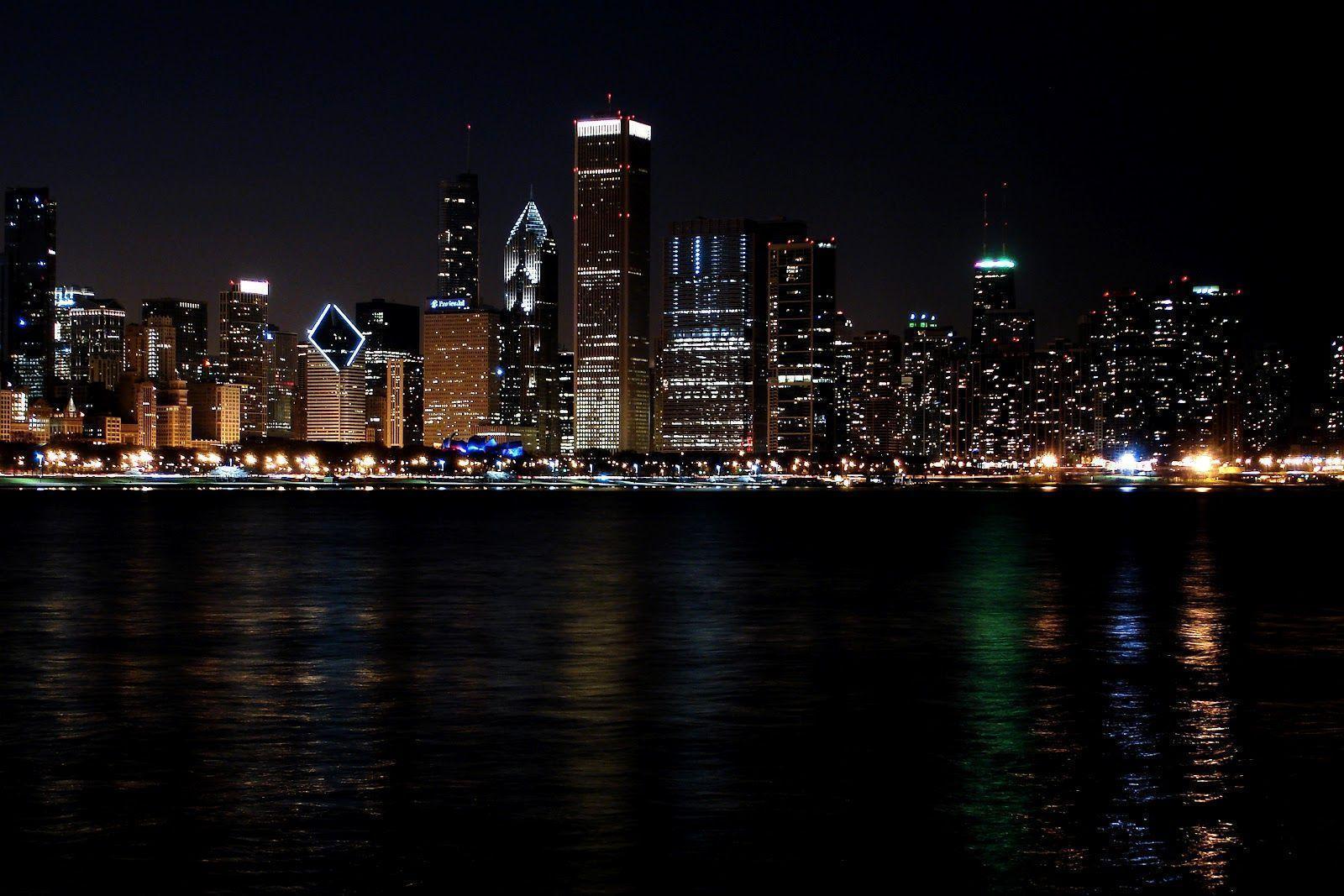 chicago night skyline wallpaper -#main