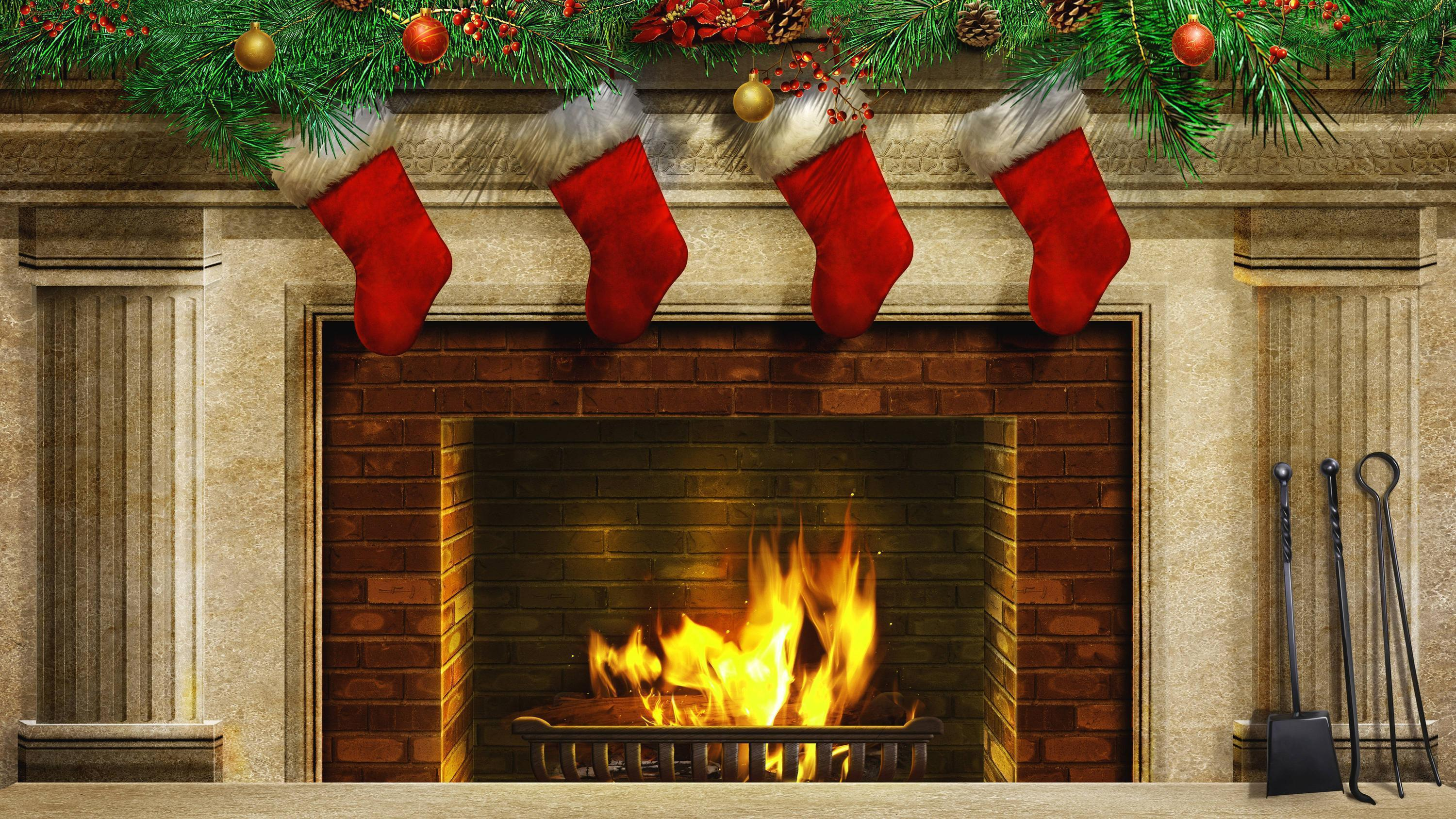 Christmas Fireplace and Christmas Stockings Backgrounds