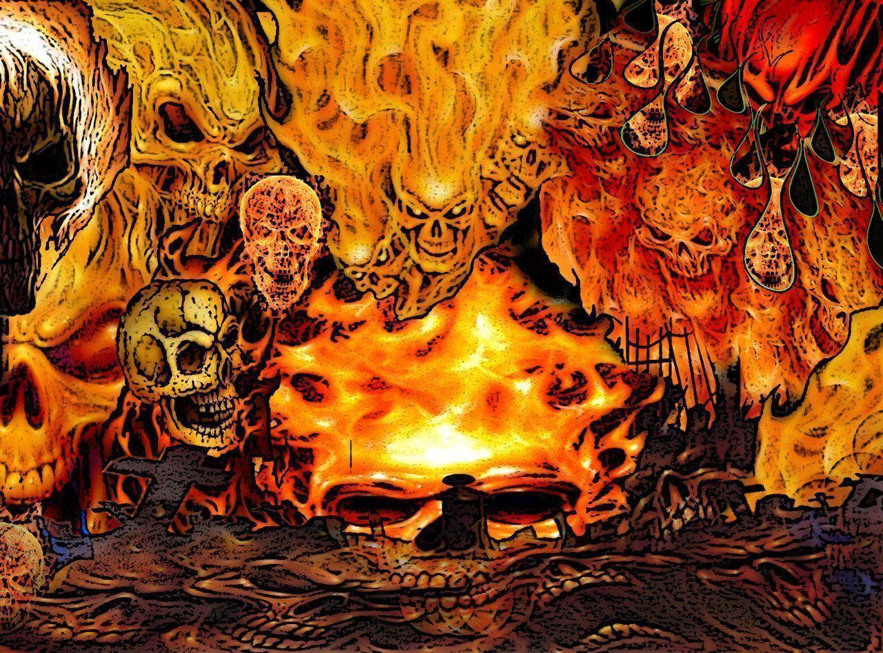 картинки черепов в огне с костями каждая