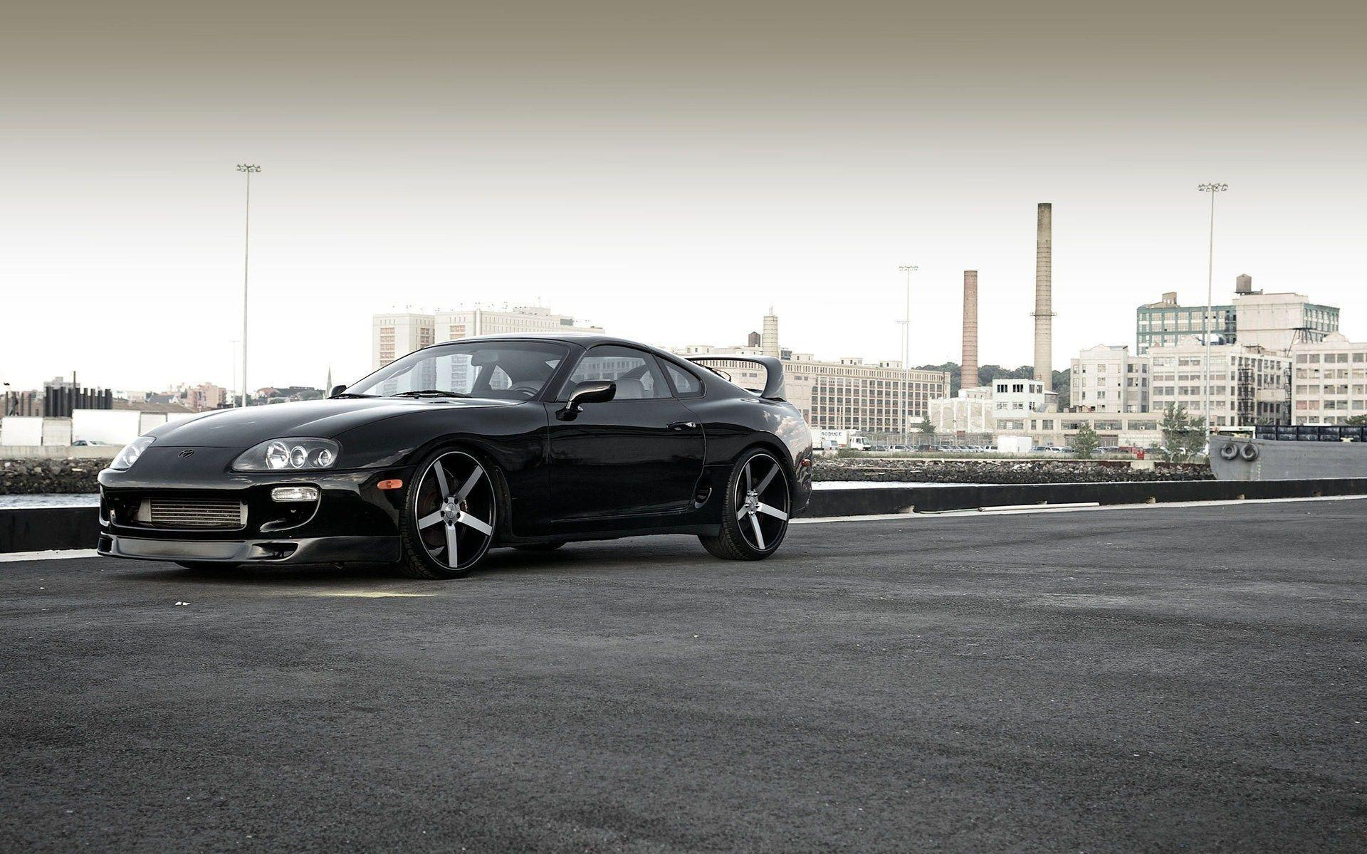 Black Toyota Supra City HD Wallpapers