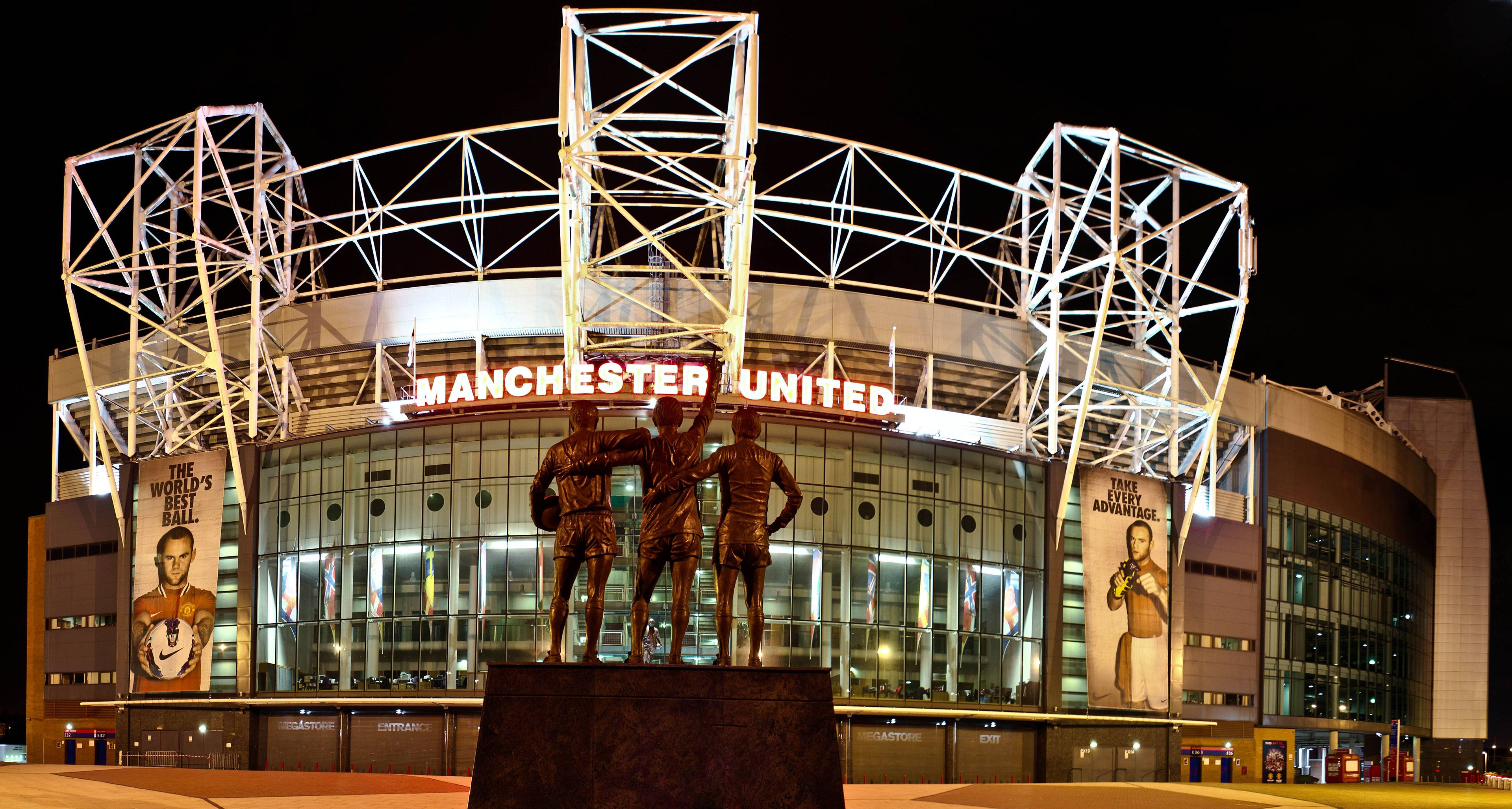 The United Trinity at Old Trafford Night Wallpapers Wide or HD