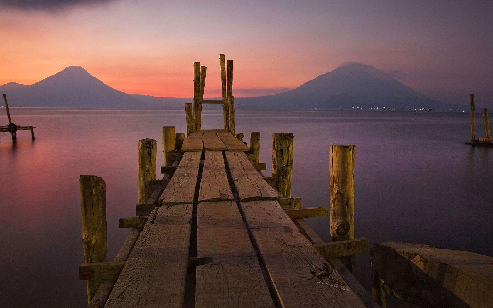 Wooden dock at lake Atitlan, Guatemala Widescreen Wallpapers