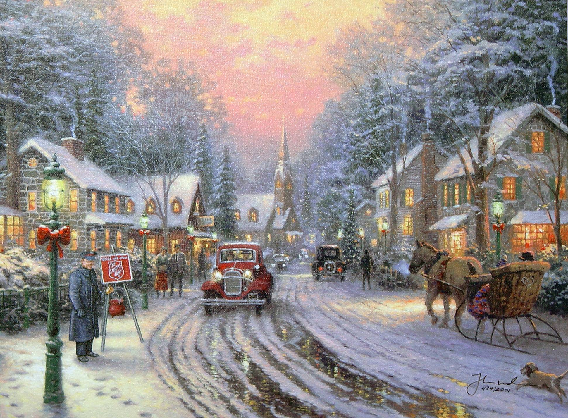 Free thomas kinkade wallpapers wallpaper cave - Art village wallpaper ...
