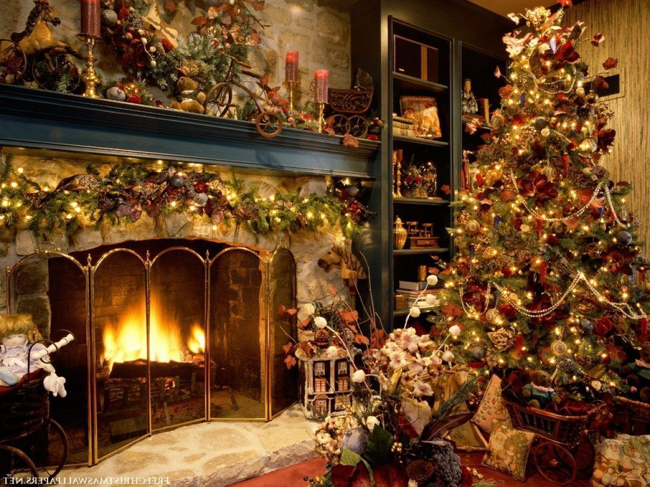 Christmas Tree And Fireplace Wallpapers