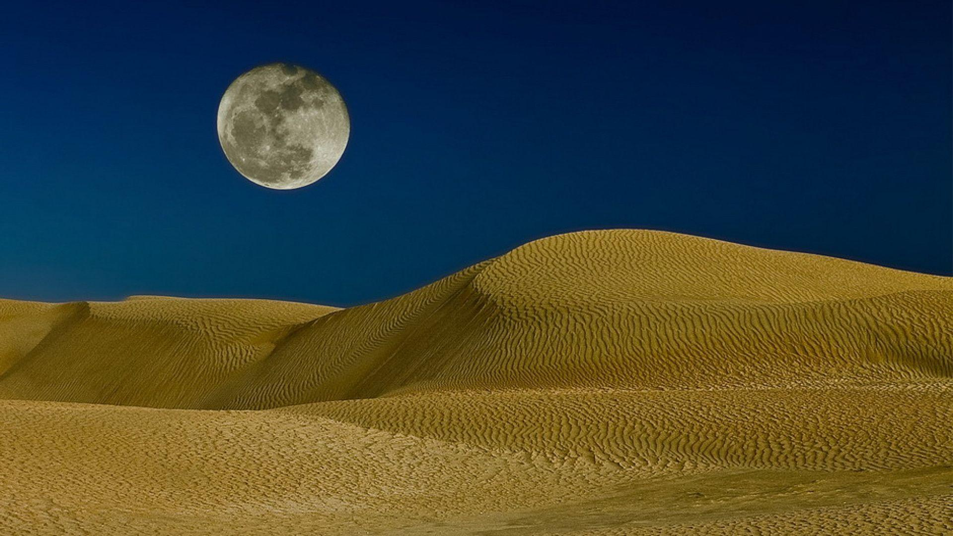 Moon over the sand dunes wallpapers and image