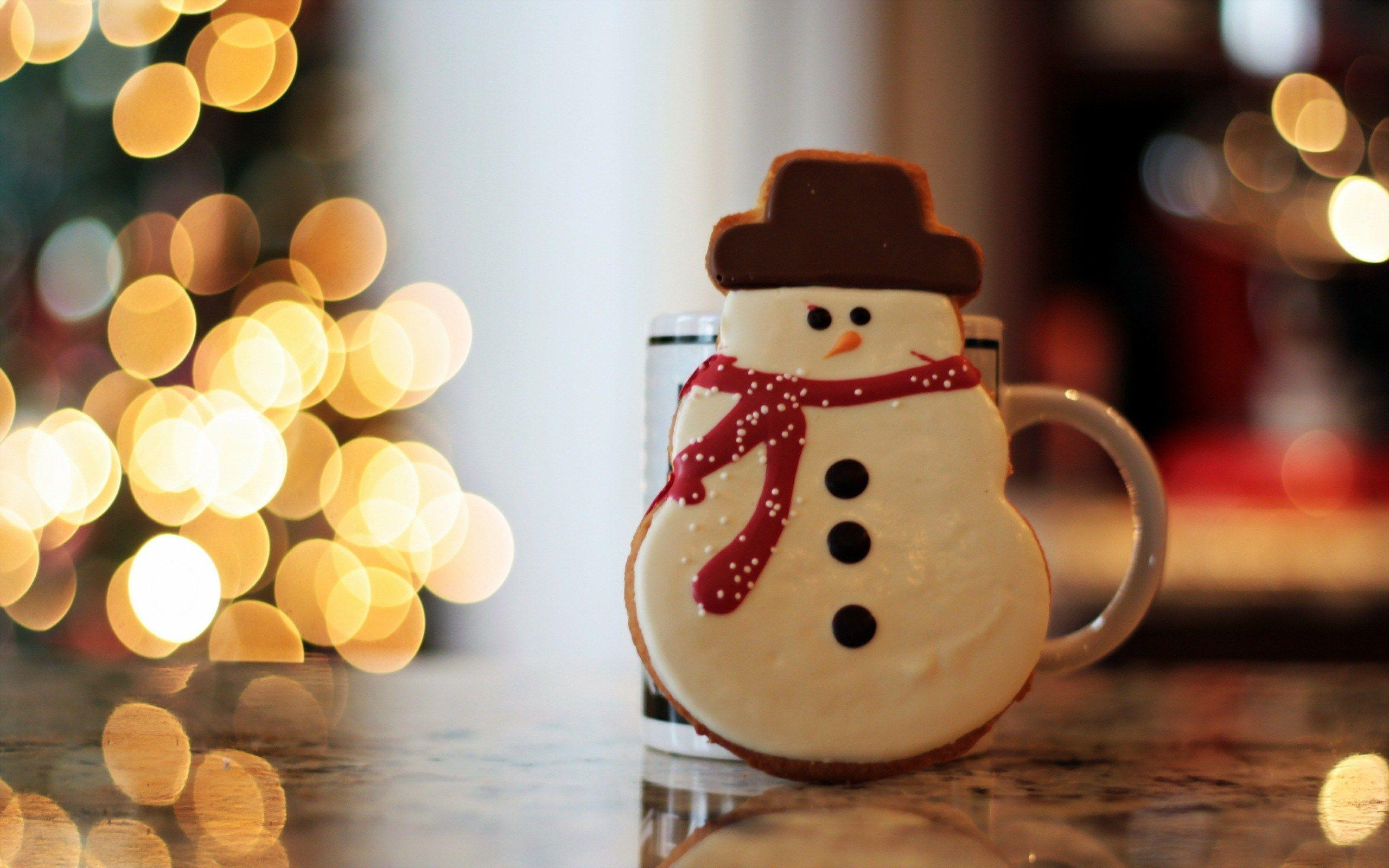 Gingerbread Christmas Lights Snowman Photo HD Wallpapers