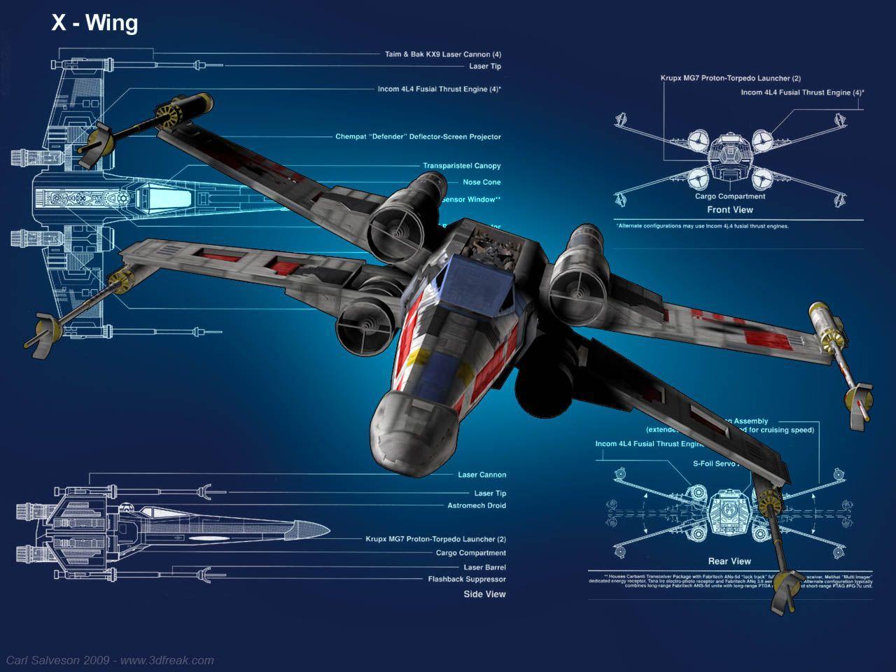 X,Wing Blueprint Wallpaper