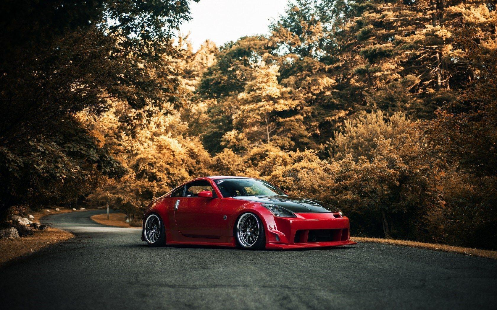 Red Nissan 350z Car Tuning Fall Forest Street HD Wallpaper - ZoomWalls